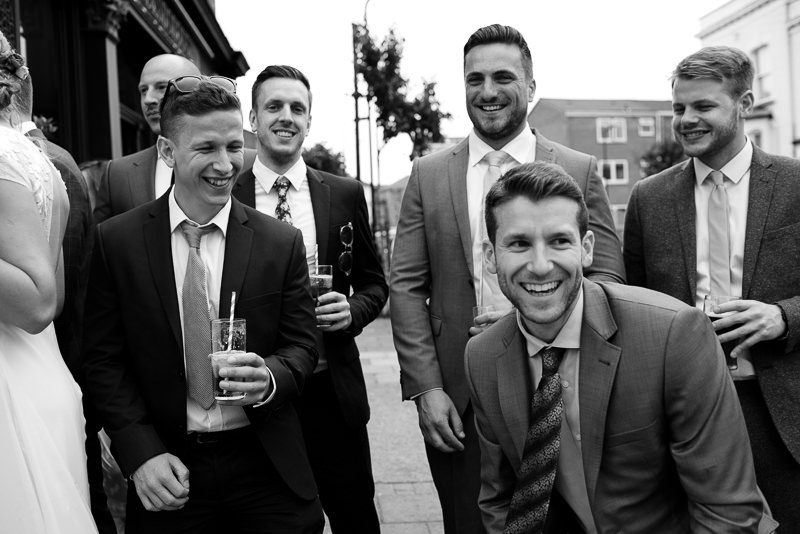 Black and white photograph of Hackney Pub wedding