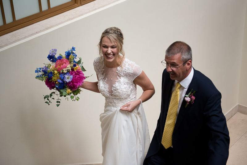 Bride arrives with Dad at Hackney Town Hall