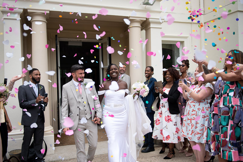 Confetti at Morden Hall wedding