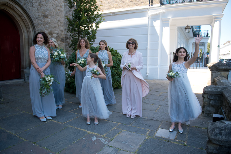 Bridesmaids waiting for bride outside HTB Onslow Square