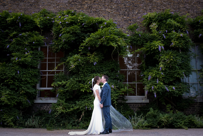 Bride and groom portrait at Fulham Palace