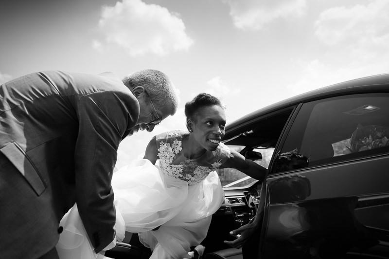 Black bride arrives for outdoor wedding at Springfield Park