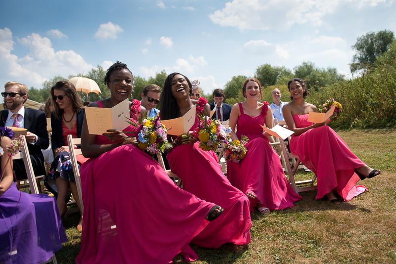 Bridesmaids at humanist outdoor wedding