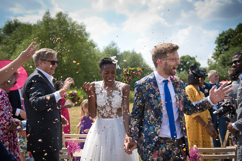 Confetti at humanist outdoor wedding