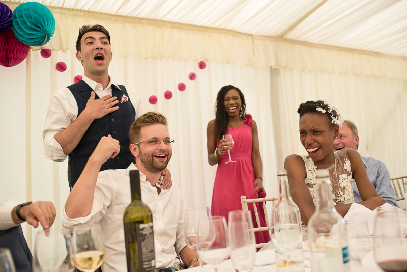 Speeches at marquee wedding at Springfield Park