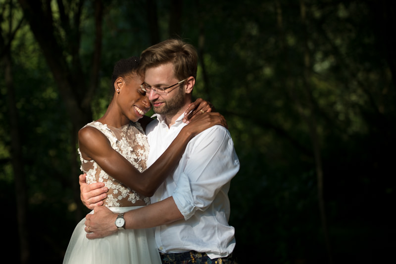 Natural couple shoot with black bride and white groom