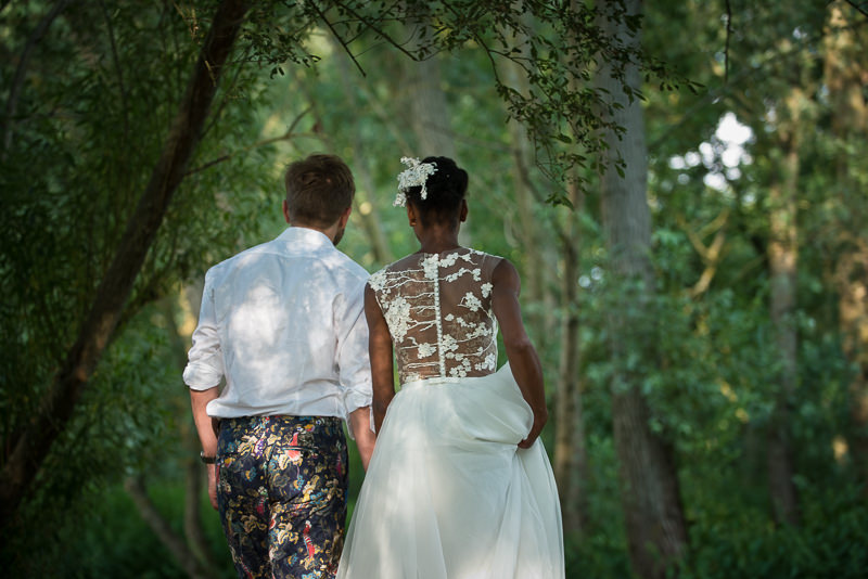 Natural couple shoot with mixed skin tone couple