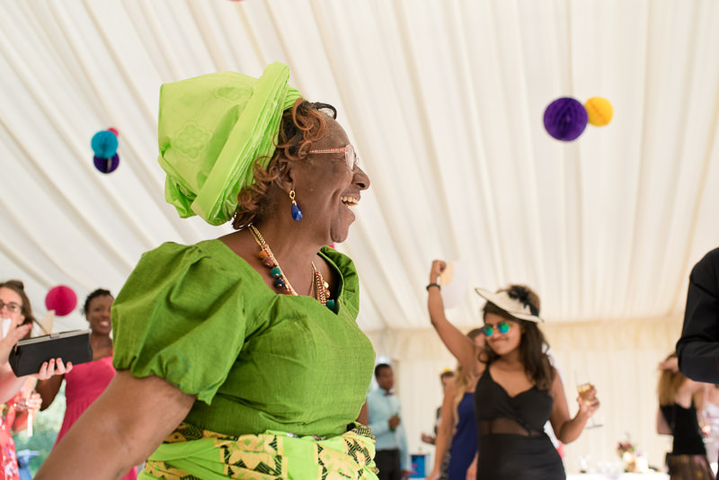 Nigerian aunt at wedding celebration at Springfield Park