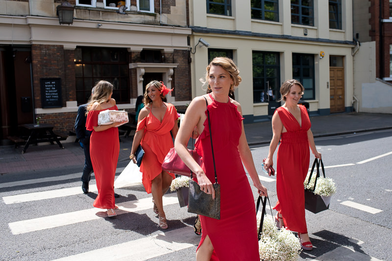 Bridesmaids on way to Stoke Newington Town Hall wedding