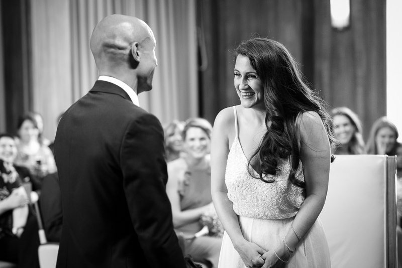 Bride and groom getting married at Stoke Newington Town Hall