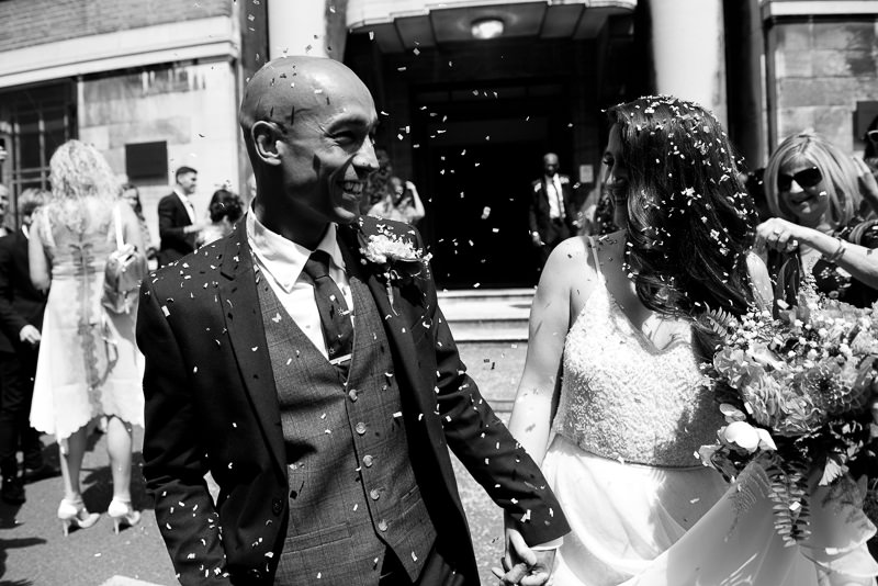Black and white confetti shot at Stoke Newington Town Hall
