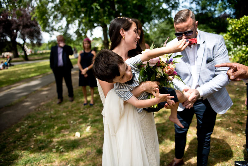 Bride with son in Clissold Park