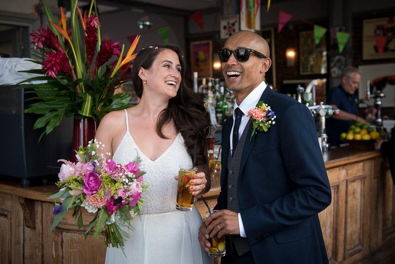 Bride and groom at Stoke Newington Pub wedding