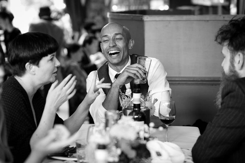 Groom laughing at Stoke Newington Pub wedding