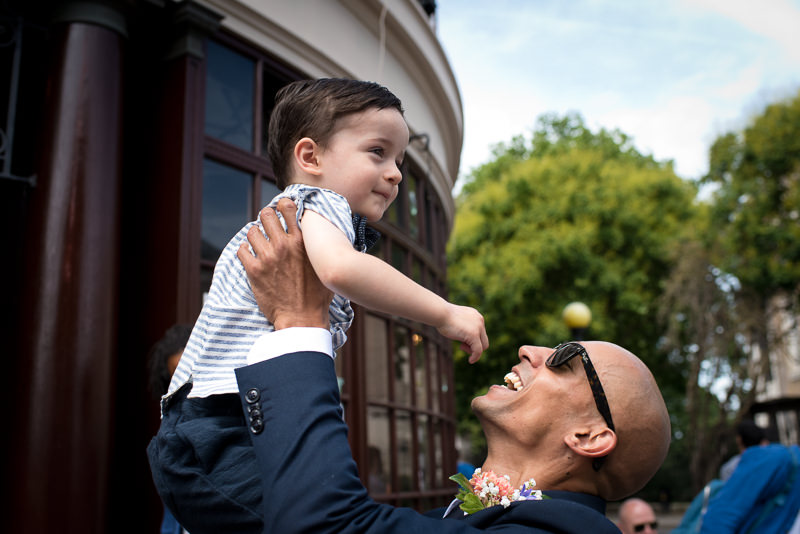 Groom with toddler at the Rose and Crown