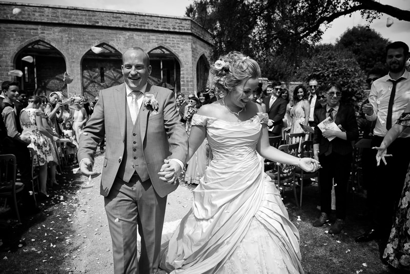 Confetti at Chiddingstone Castle wedding