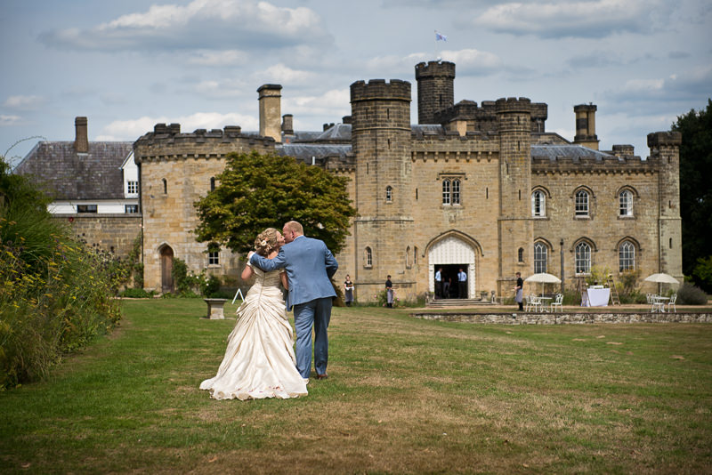 Bride and groom after wedding ceremony at Chiddingstone Castle