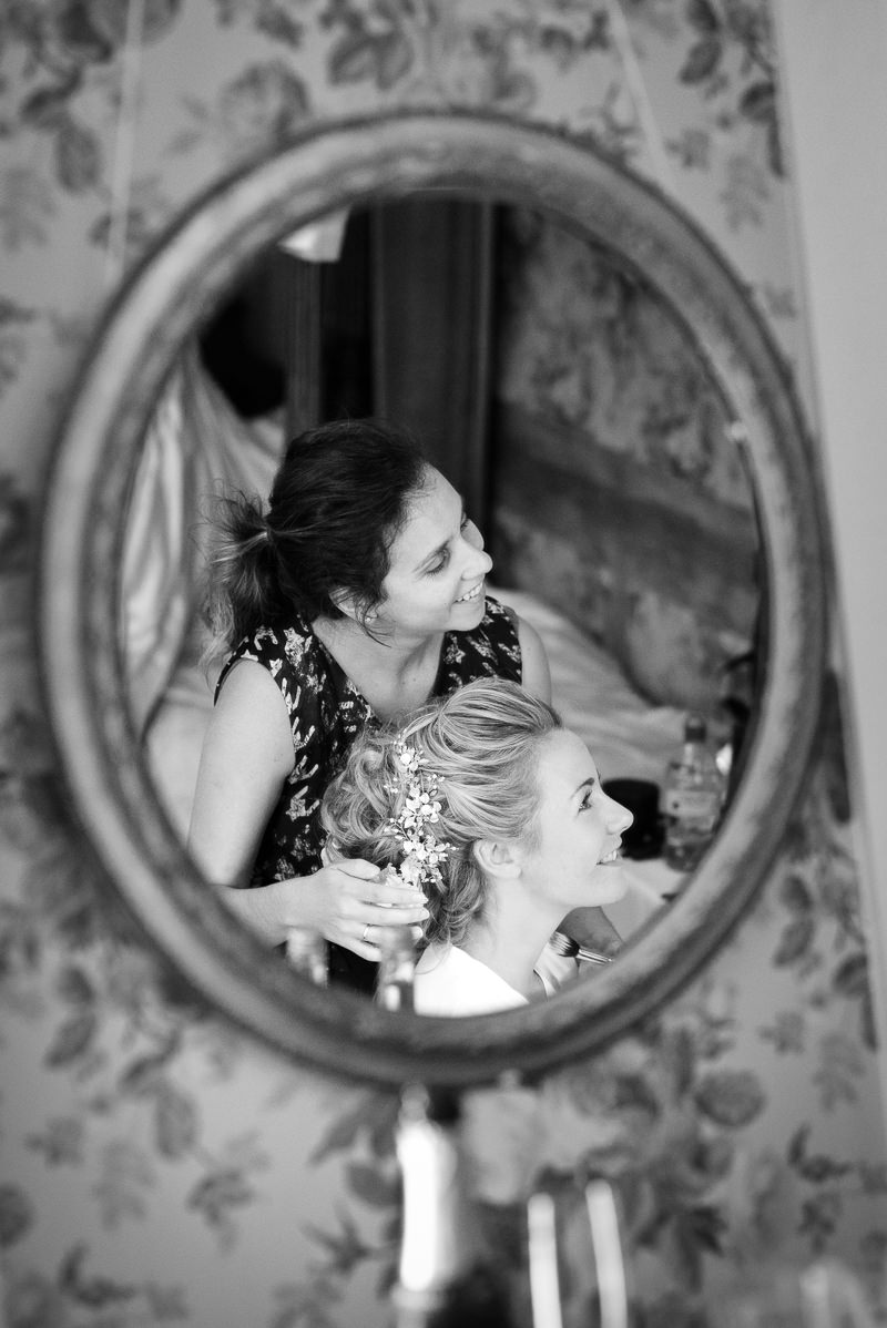 Bride gets ready for Chiddingstone Castle wedding