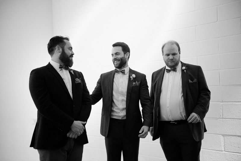Groom and groomsmen before ceremony at Holburn Studios wedding