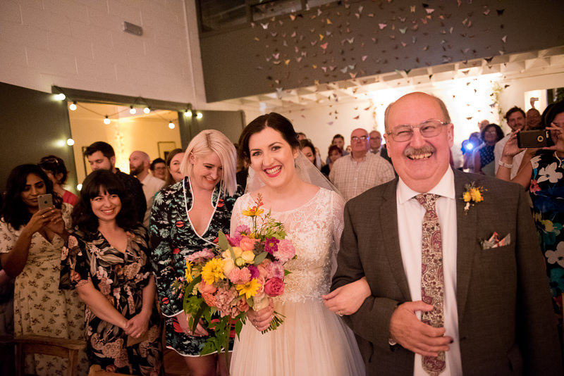 Dad walks bride down the aisle at Holburn Studios