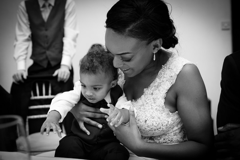 Bride with son at Amadeus Centre wedding