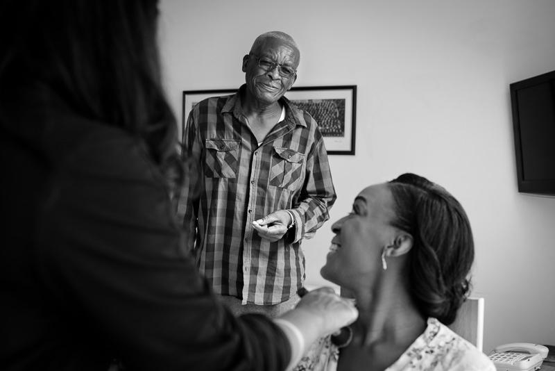 Dad watches bride get ready for Amadeus Centre wedding