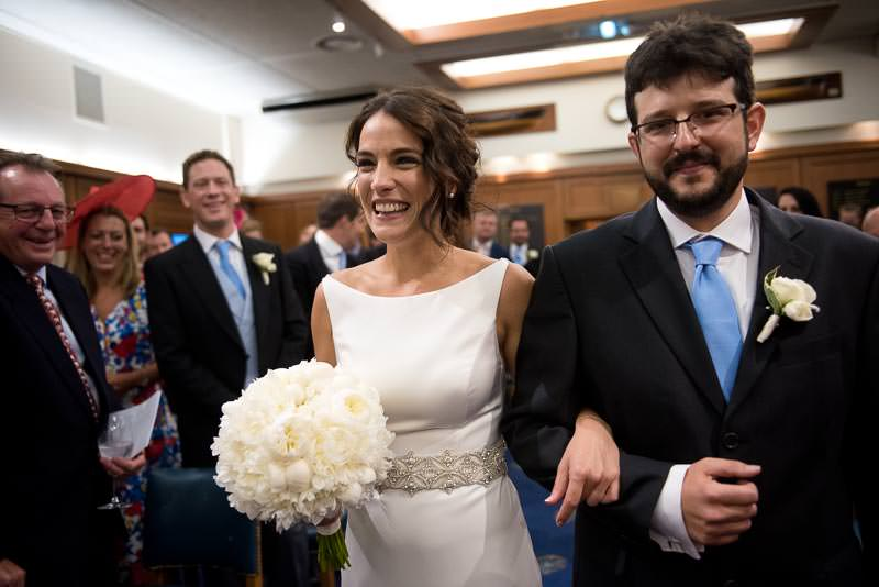 Bride walks down the aisle at HQS Wellington wedding