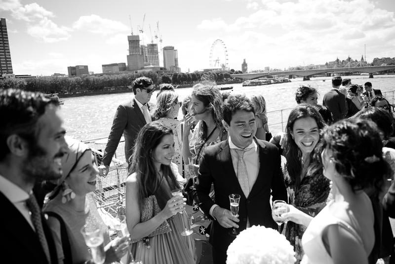 Wedding guests on deck of the HQS Wellington