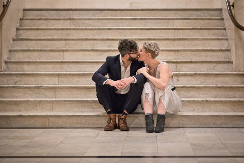 Bride and groom portrait at Marylebone Town Hall winter wedding
