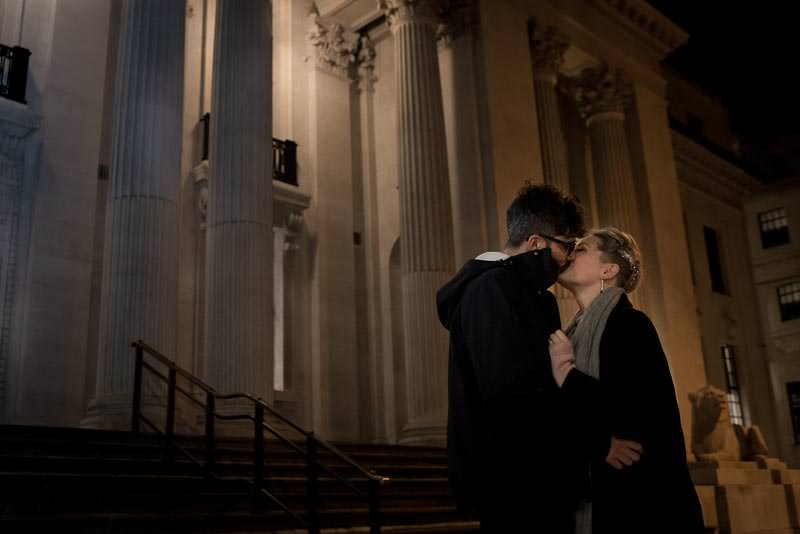 Bride and groom portrait at Marylebone Town Hall