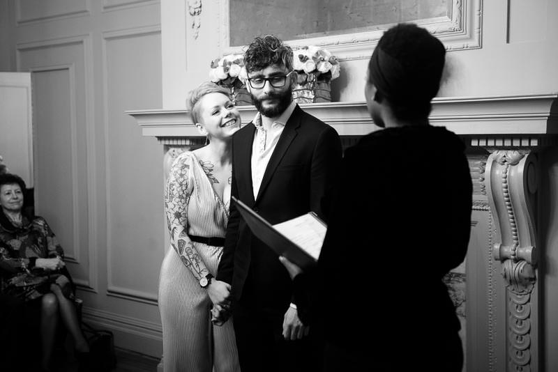Small winter wedding ceremony at Marylebone Town Hall