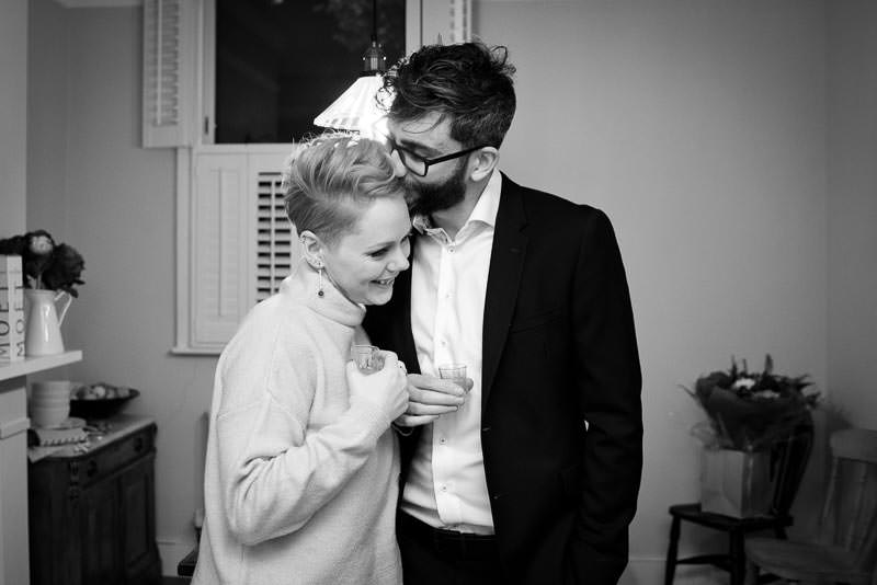 Bride and Groom get ready for Marylebone Town Hall Winter Wedding