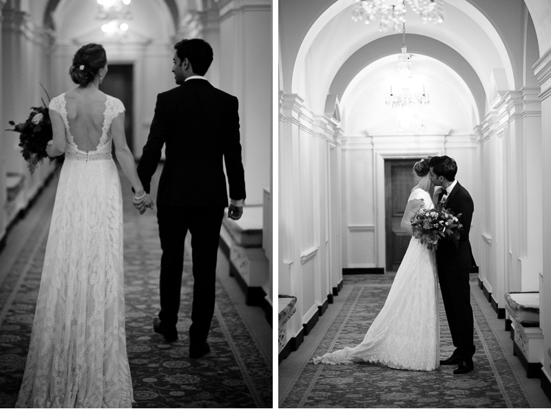 Bride and groom in corridor at The Ned Hotel
