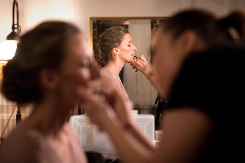 Bride getting ready for Ned Hotel wedding