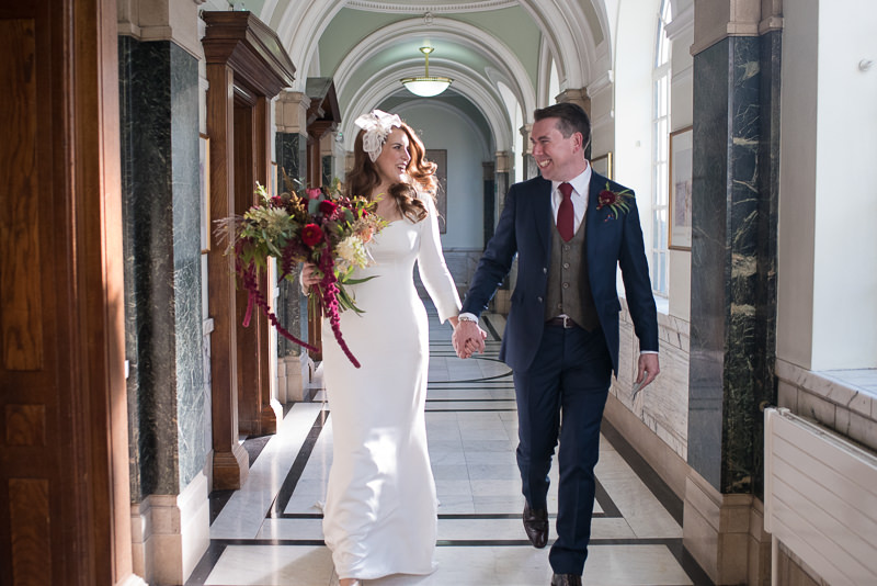 Bride and groom after getting married at Islington Town Hall