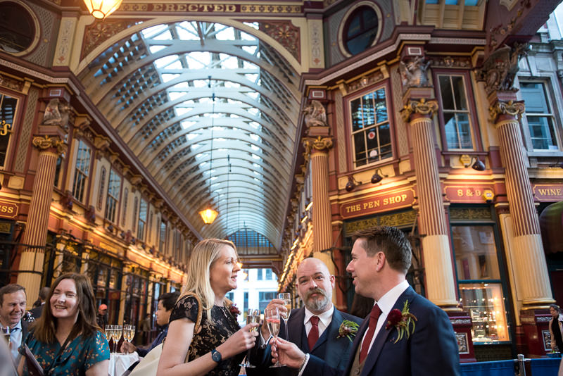Guests mingling at Leadenhall Market wedding