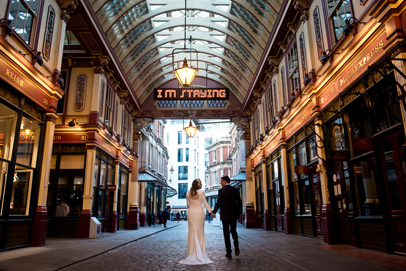 Bride and groom portrait in Leadenhall Market