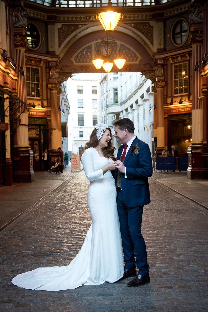 Bride and groom portrait at Leadenhall market