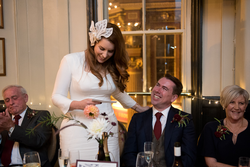 Bride makes speech at Lamb Tavern wedding