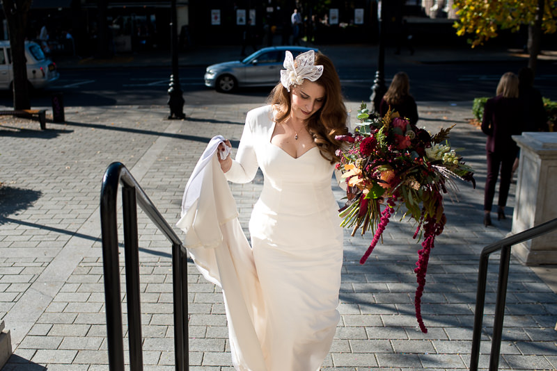 Bride arrives for Islington Town Hall wedding