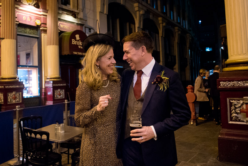 Groom with sister at Leadenhall Market wedding