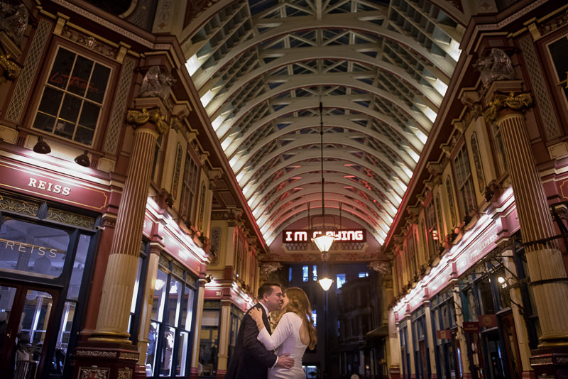 Bride and groom's first dance in Leadenhall Market