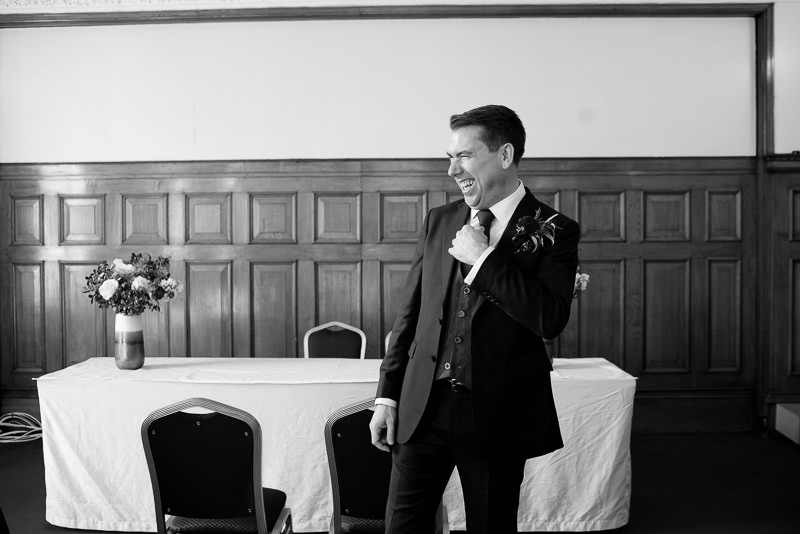 Groom at Islington Town Hall wedding
