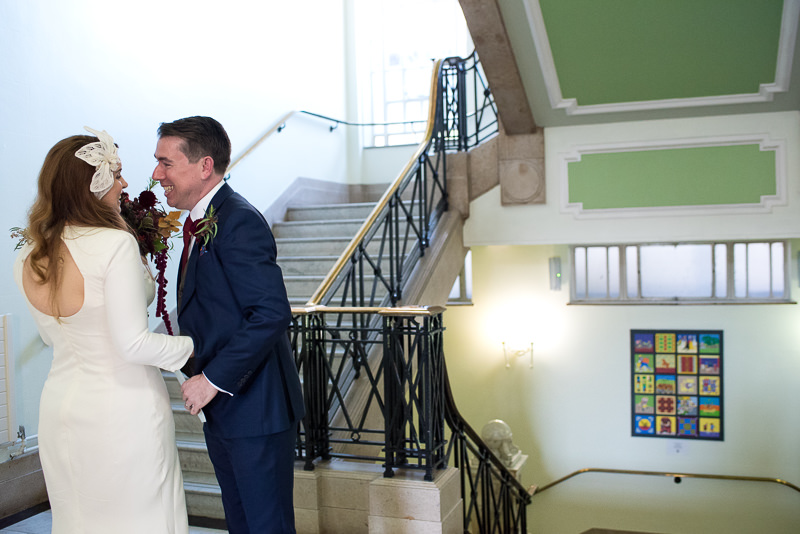 Bride and groom after Islington Town Hall wedding ceremony