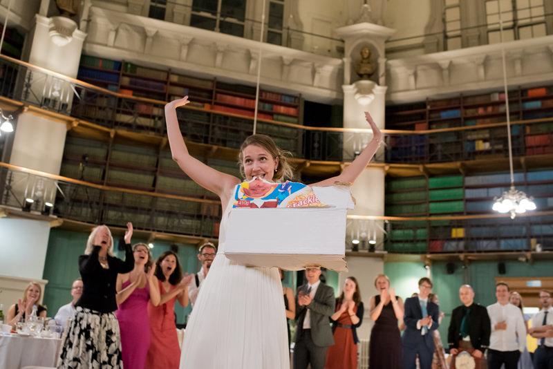 Bride plays fun game at wedding at QMUL