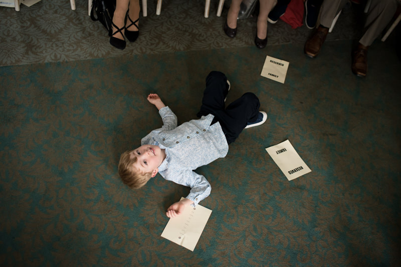Little boy at wedding ceremony at QMUL
