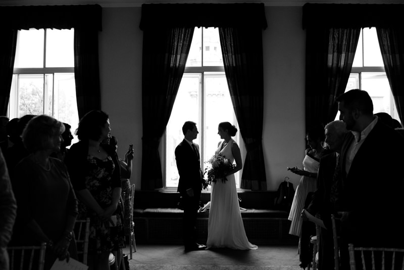 Bride and groom at QMUL wedding ceremony