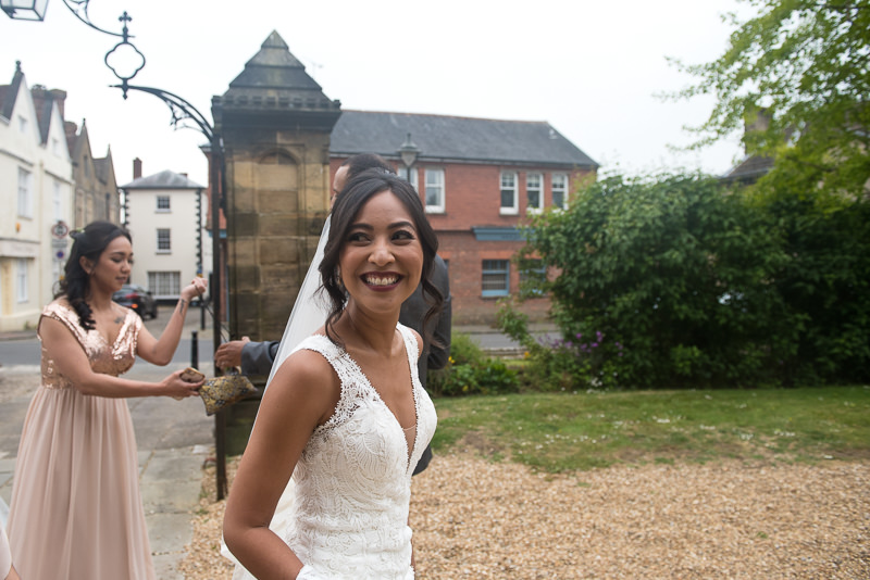 Bride arrives for wedding at St Mary's church in Petworth