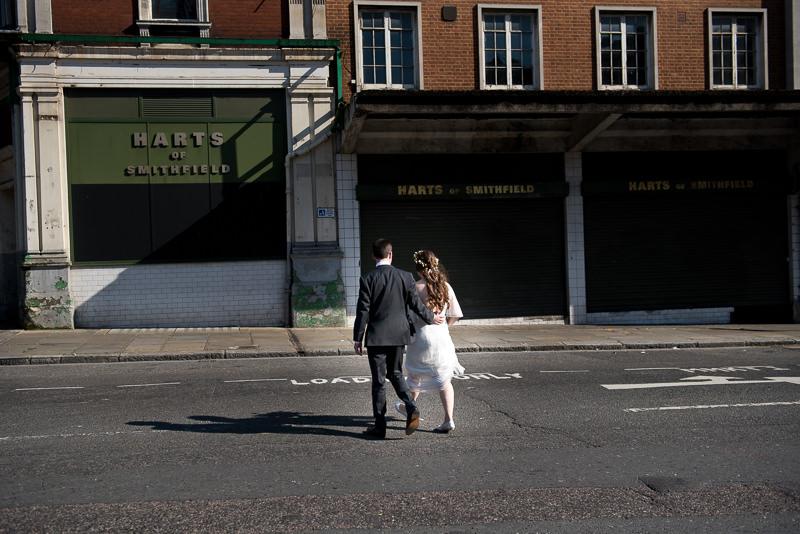 Bride and groom portrait Clerkenwell
