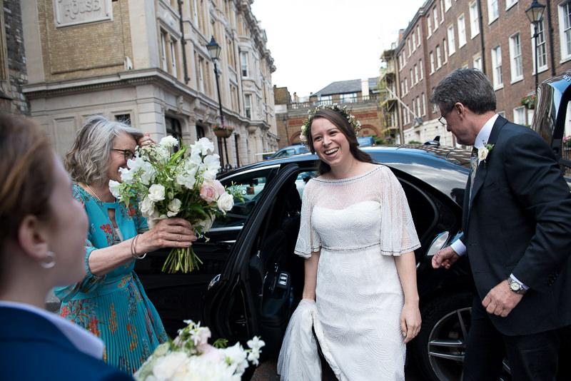 Bride arrives for wedding at St Etheldreda